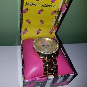 Betsey Johnson Gold Glitzy Skull Watch
